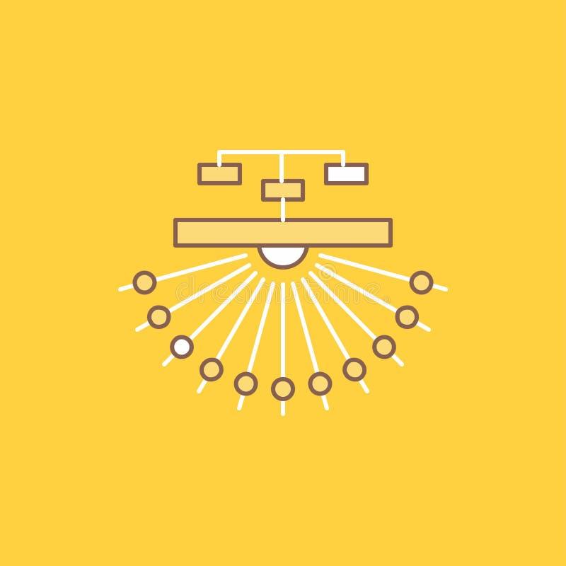 de optimalisering, plaats, plaats, structuur, Web Vlakke Lijn vulde Pictogram Mooie Embleemknoop over gele achtergrond voor UI en vector illustratie