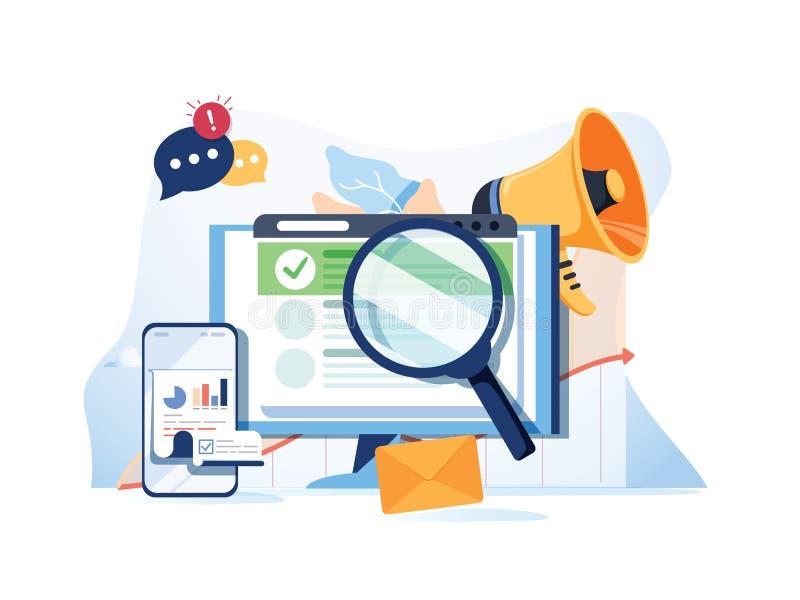 De optimalisering SEO van het onderzoeksresultaat marketing analytics vlakke vectorbanner met pictogrammen SEO-prestaties, het ri stock illustratie