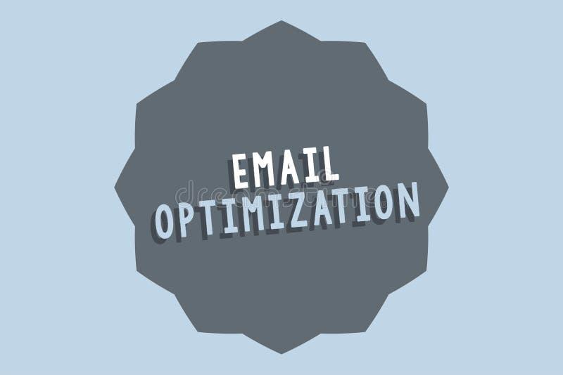 De Optimalisering van de handschrifttekst E-mail De conceptenbetekenis maximaliseert de doeltreffendheid van de marketing campagn royalty-vrije illustratie