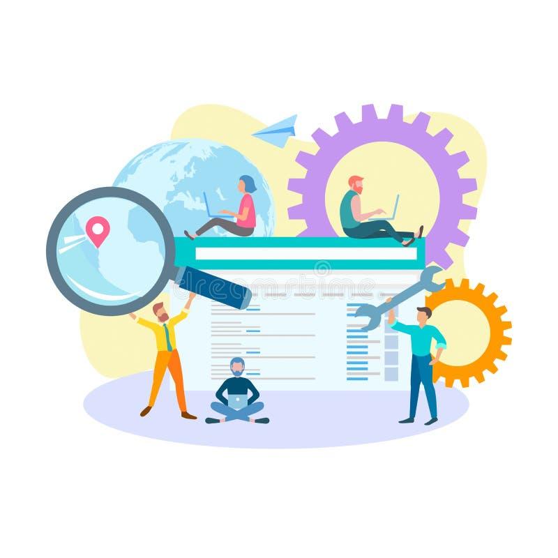 De optimalisering van het Seoconcept Internet-marketing, gerichte advertisi stock illustratie