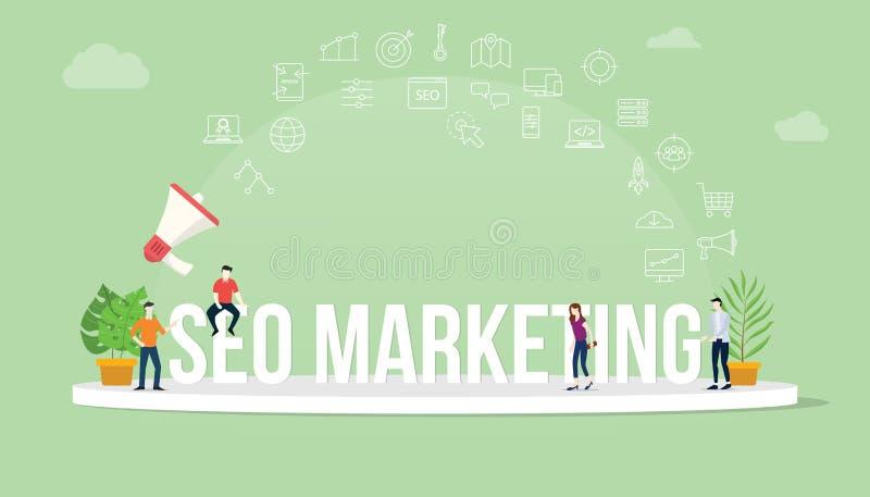 De optimalisering van de Seozoekmachine marketing concept met teammensen die samen met het de grote banner en pictogram van de te vector illustratie