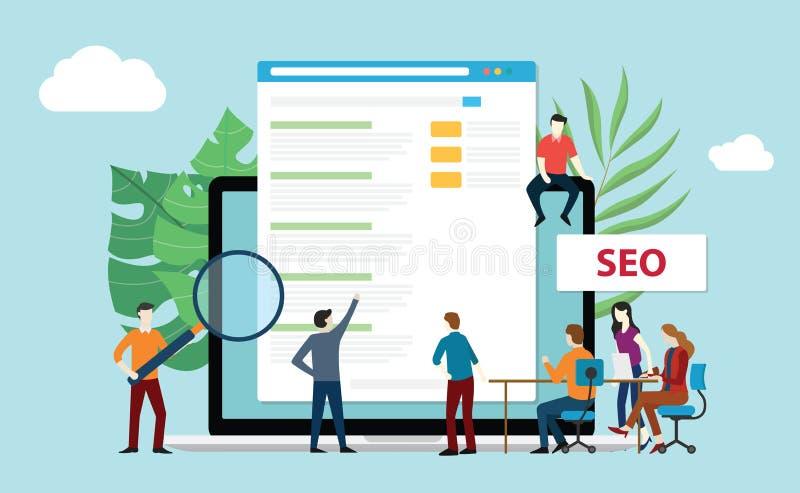 De optimalisering van de Seozoekmachine met de mensen die van het bureauteam de classificatie van de verhogingswebsite samenwerke vector illustratie