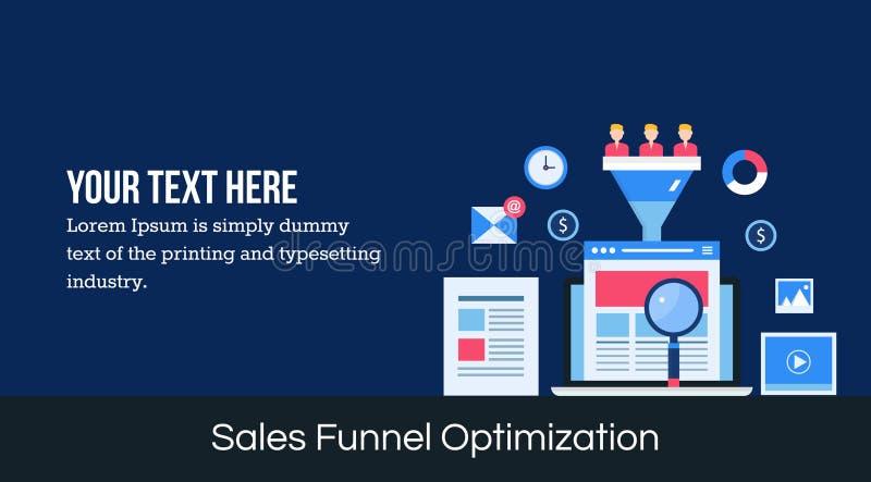 De optimalisering van de verkooptrechter - de vlakke banner van het ontwerpweb royalty-vrije illustratie