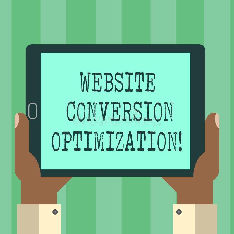 De Optimalisering van de de Websiteomzetting van de handschrifttekst Concept die Systeem om de analyse van HU van websitebezoeker royalty-vrije illustratie