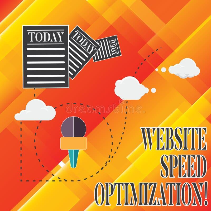 De Optimalisering van de de Websitesnelheid van de handschrifttekst De conceptenbetekenis verbetert websitesnelheid om bedrijfsdo stock illustratie