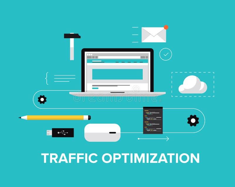 De optimaliserings vlakke illustratie van het websiteverkeer royalty-vrije illustratie