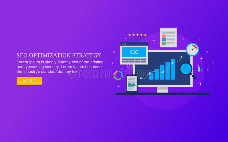 De optimaliseringsstrategie van de Serachmotor, de analyse van seogegevens, de optimalisering van de websitesnelheid, inhoud, ont stock illustratie