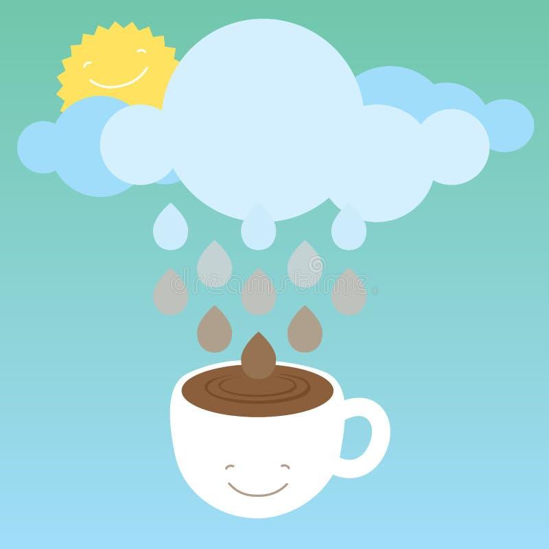 De optimistische vectorillustratie van de ochtendkoffie met stock illustratie