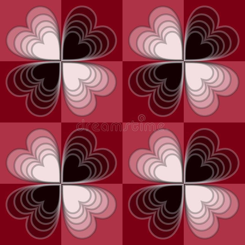 De optische achtergrond van de kunstcontroleur met witte en zwarte harten, naadloos vectorornament royalty-vrije illustratie