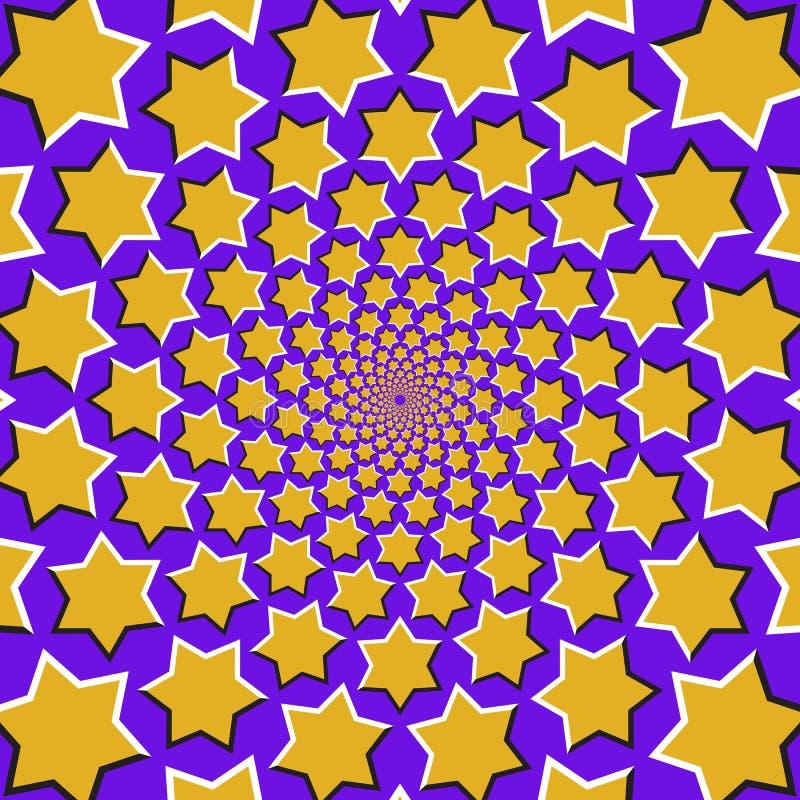 De optische achtergrond van de motieillusie Gele zes richtten in een cirkel sterrenvlieg apart van het centrum op blauwe achtergr vector illustratie