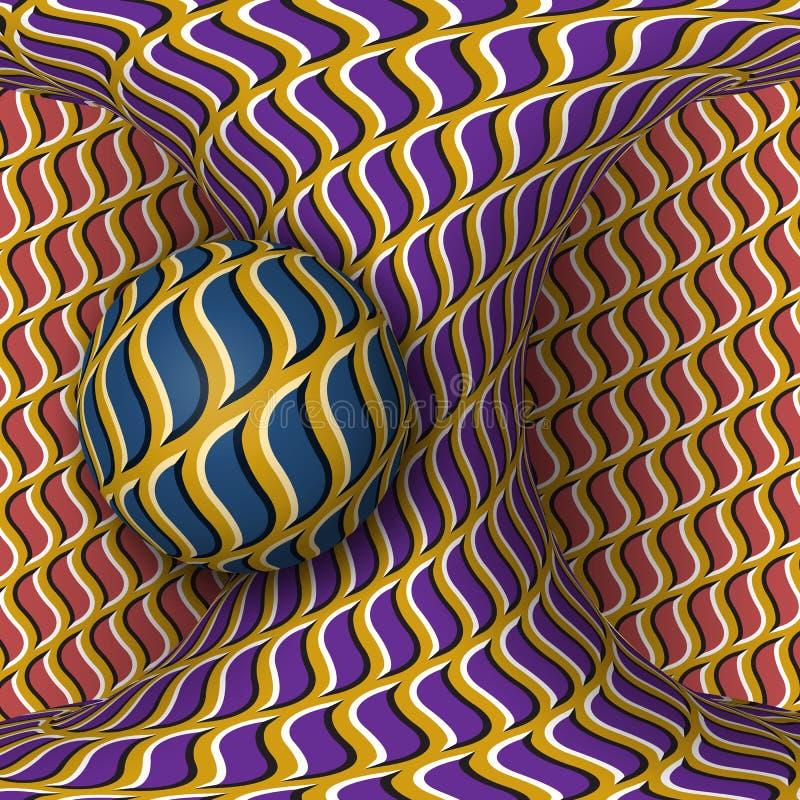 De optische illustratie van de motieillusie Een gebied is omwenteling rond van een het bewegen zich hyperboloid stock illustratie
