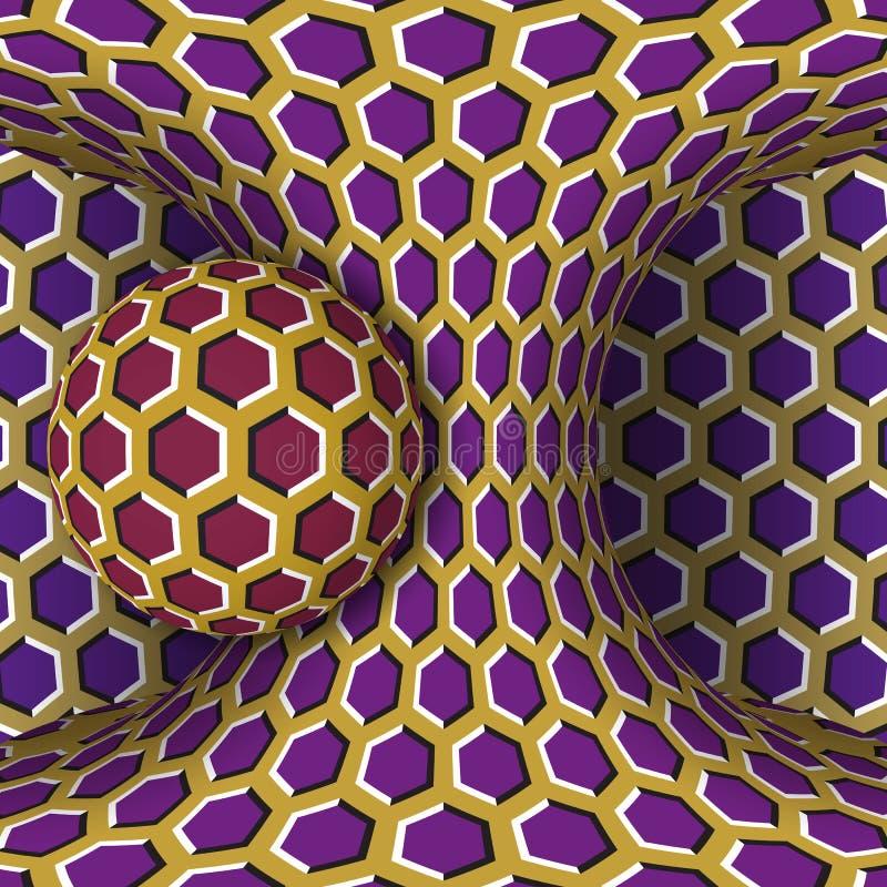 De optische illustratie van de motieillusie Een gebied is omwenteling rond van een het bewegen zich hyperboloid vector illustratie