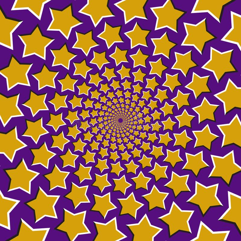 De optische vectorachtergrond van de motieillusie Gele vijf richtten in een cirkel sterrenvlieg apart van het centrum op blauwe a royalty-vrije illustratie
