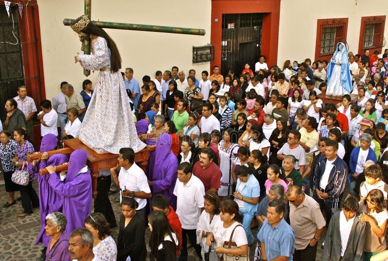 De Optocht van de Goede Vrijdag, Oaxaca, Mexico stock fotografie