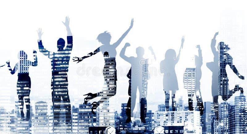 De Opwinding Victory Achievement Concept van het bedrijfsmensensucces stock afbeelding