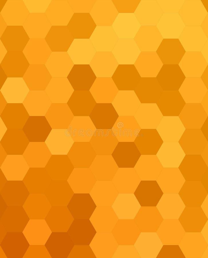 De oranje abstracte hexagonale achtergrond van de honingskam royalty-vrije illustratie