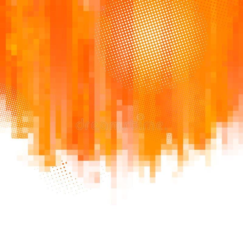 De oranje abstracte verf bespat illustratie Vector achtergrond met plaats voor uw tekst Mozaïekpixel stock illustratie