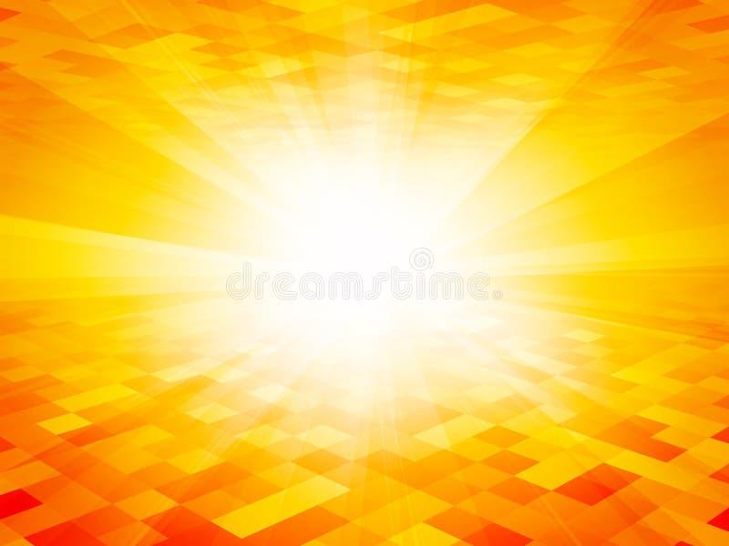 De oranje achtergrond van de straal geometrische tegel royalty-vrije illustratie