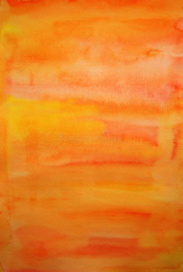 De oranje achtergrond van de waterverfhand geschilderde kunst royalty-vrije stock afbeeldingen