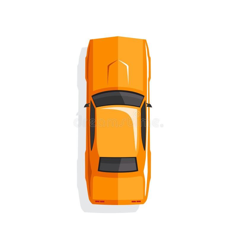 De oranje auto van de beeldverhaalspier Hoogste mening Vector illustratie vector illustratie