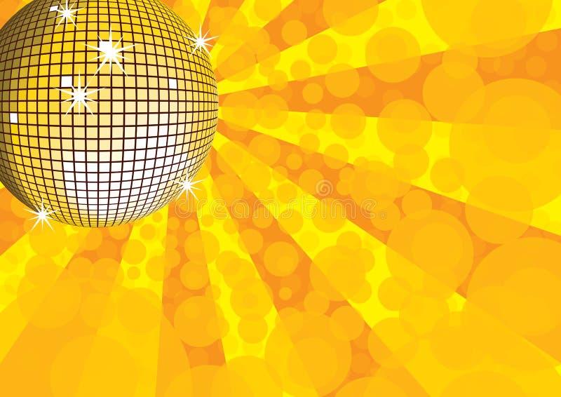 De oranje bal van de spiegeldisco. royalty-vrije illustratie