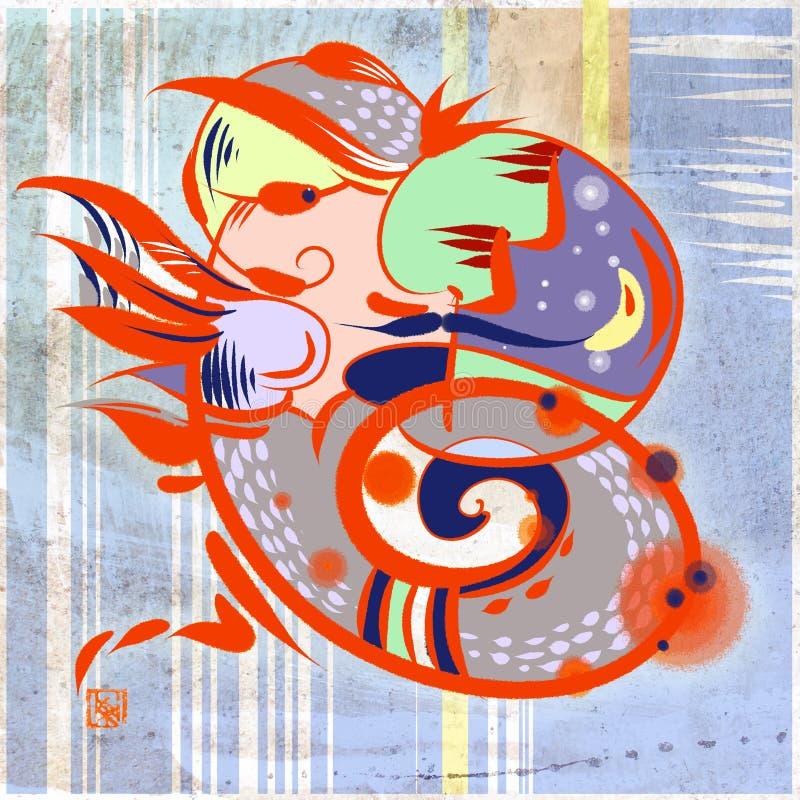 De oranje die draak wordt samengevoegd met moustached mensenprofiel royalty-vrije illustratie