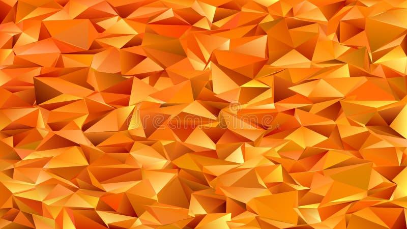 De oranje geometrische abstracte chaotische achtergrond van het driehoekspatroon - mozaïek vector grafisch ontwerp van gekleurde  stock illustratie