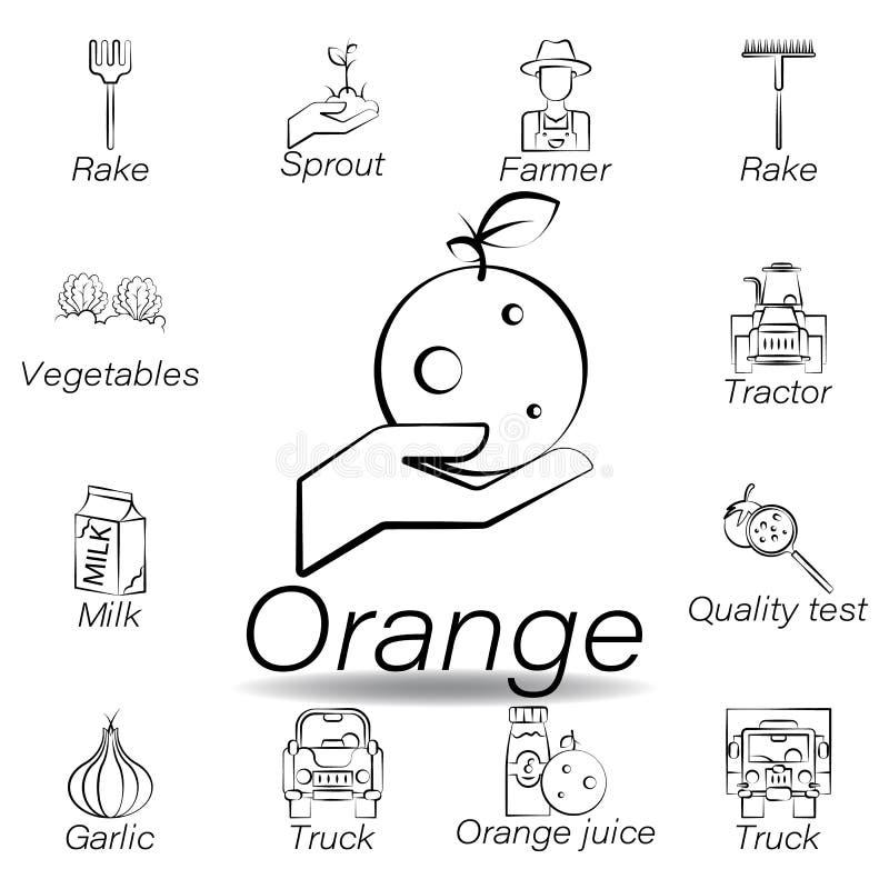De oranje hand trekt pictogram Element van de landbouw van illustratiepictogrammen De tekens en de symbolen kunnen voor Web, embl royalty-vrije illustratie