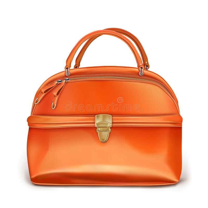 De oranje handtas van modieuze vrouwen vector illustratie