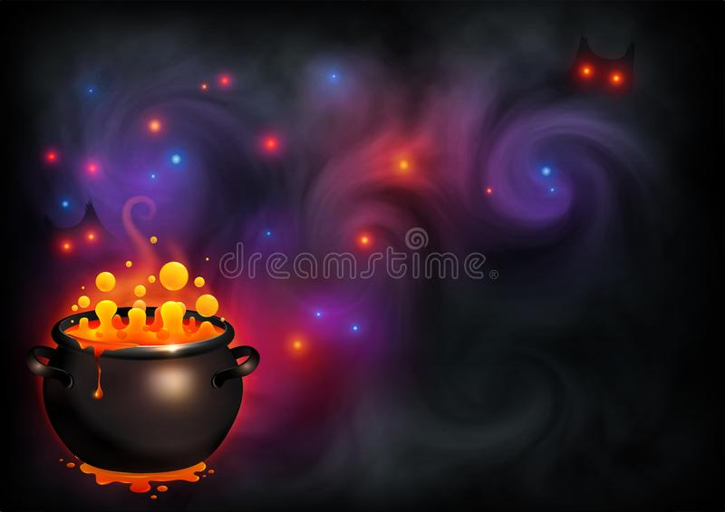 De oranje het borrelen heks brouwt in zwarte pot op donkere violette rook en magische lichtenachtergrond Vectorhalloween-affiche stock illustratie