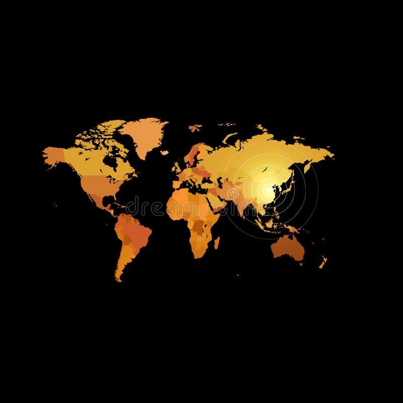 De oranje kaart van de kleurenwereld op zwarte achtergrond De achtergrond van het bolontwerp Het behang van het cartografieelemen stock illustratie