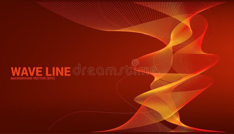 De oranje kromme van de Correcte golflijn op rode achtergrond stock illustratie