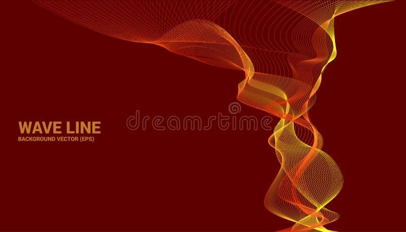 De oranje kromme van de Correcte golflijn op rode achtergrond vector illustratie