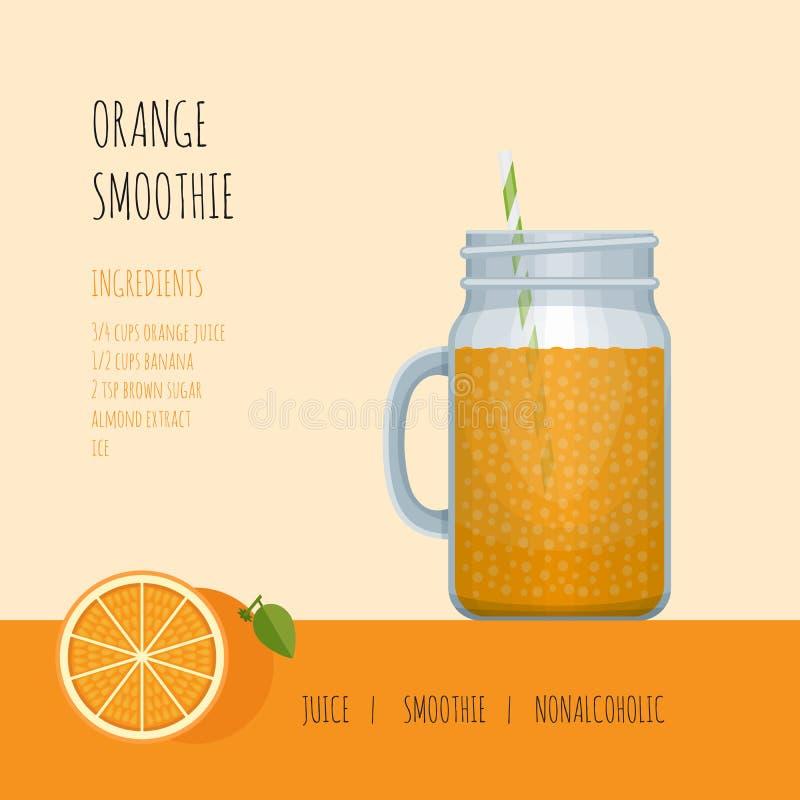 De oranje kruik van de smoothiemetselaar met recepten en ingrediënten smoothie vector illustratie