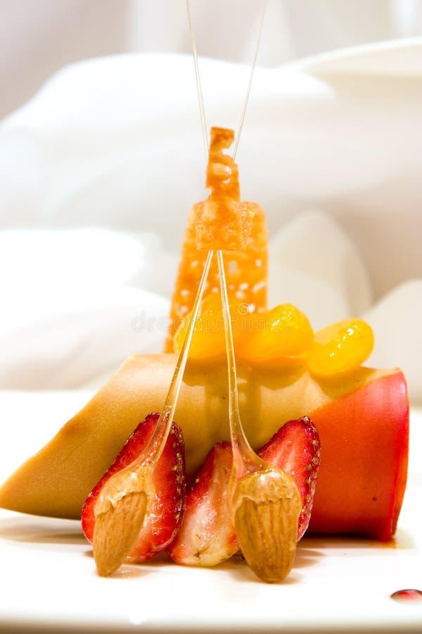 De oranje Mousse van de Karamel stock afbeeldingen