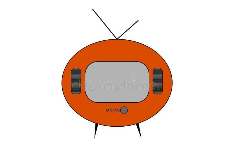 De oranje retro vectortekening van TV Vlakke stijlvector Televisiepictogram, symbool op witte achtergrond, oppervlakte wordt geïs stock illustratie