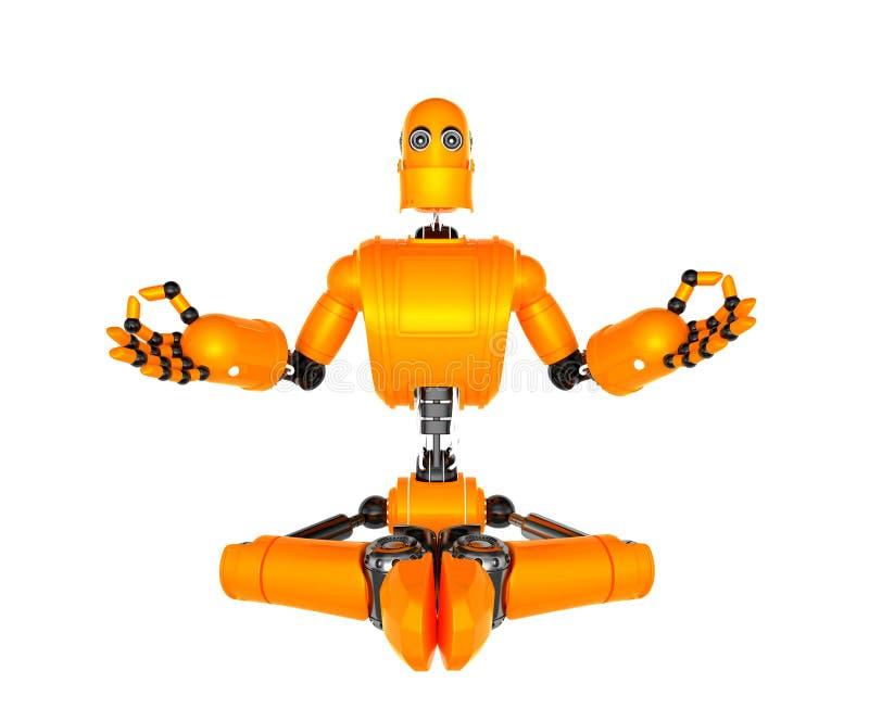 De oranje robot in meditatie stelt stock illustratie