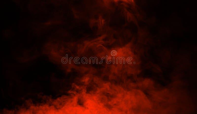 De oranje studio van het rookstadium De abstracte achtergrond van de misttextuur voor grafisch en Web stock afbeelding