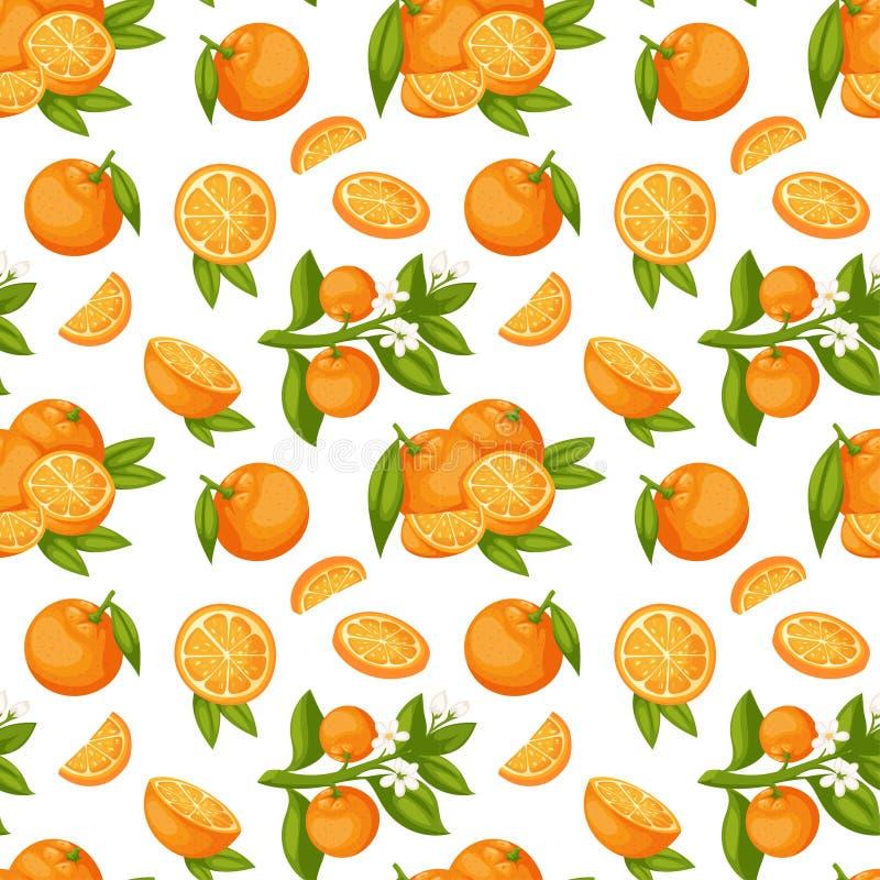 De oranje vector van het fruit naadloze patroon vector illustratie