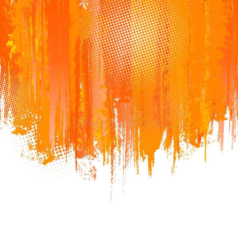 De oranje verf bespat achtergrond. Vector royalty-vrije illustratie