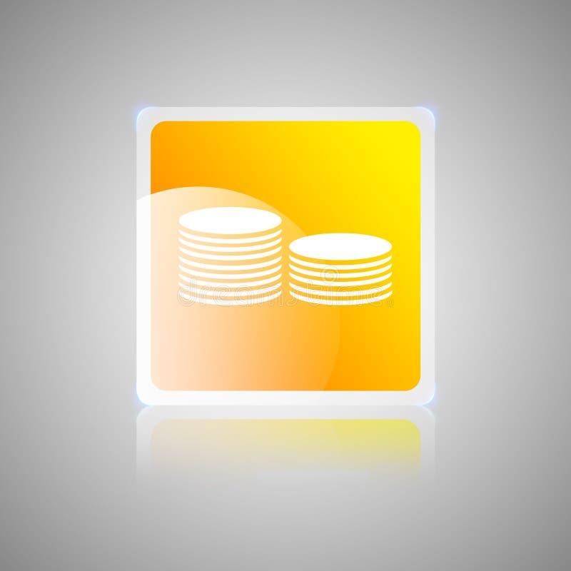 De oranje vierkante glazige knoop van het muntstukkengeld vector illustratie