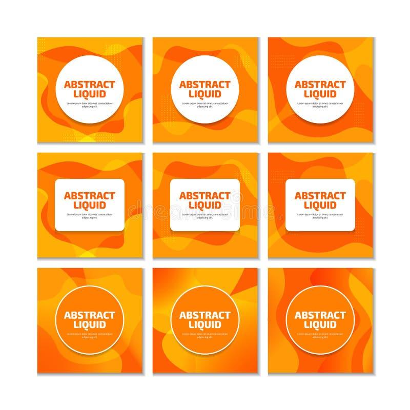 De oranje vloeibare vloeibare moderne in achtergrond voor sociale die media post, de voorproef van de embleemvertoning, advertent vector illustratie