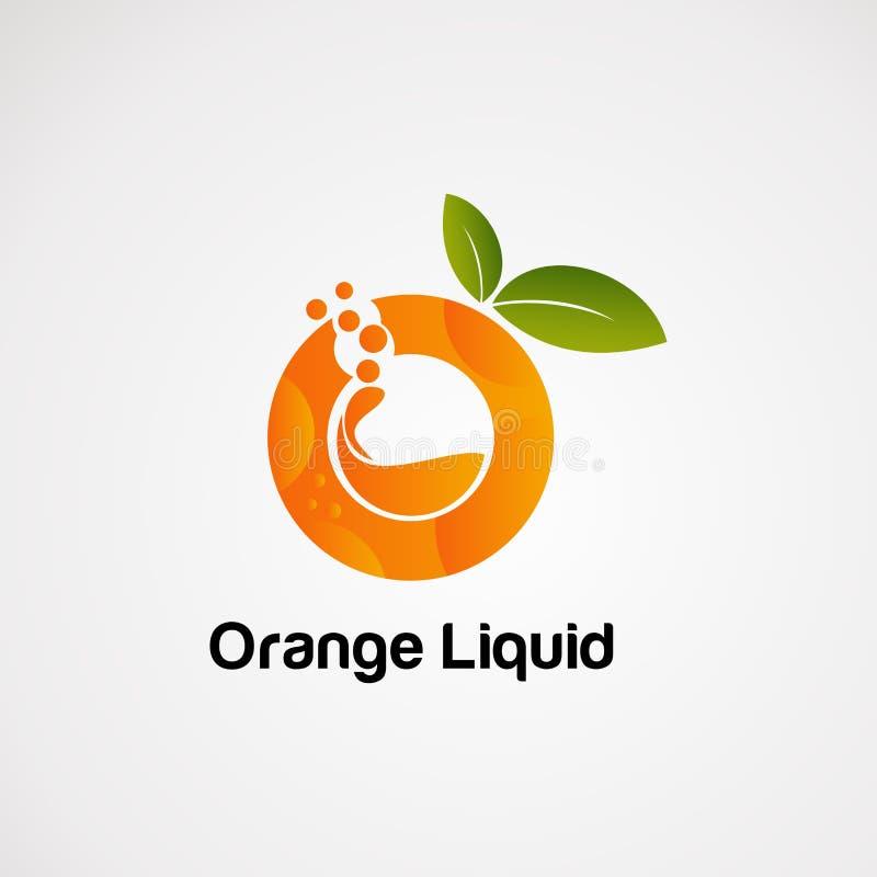 De oranje vloeibare vector, het pictogram, het element, en het malplaatje van het fruitembleem voor bedrijf stock illustratie