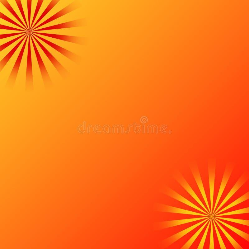 De oranjegele achtergrond van zonstralen