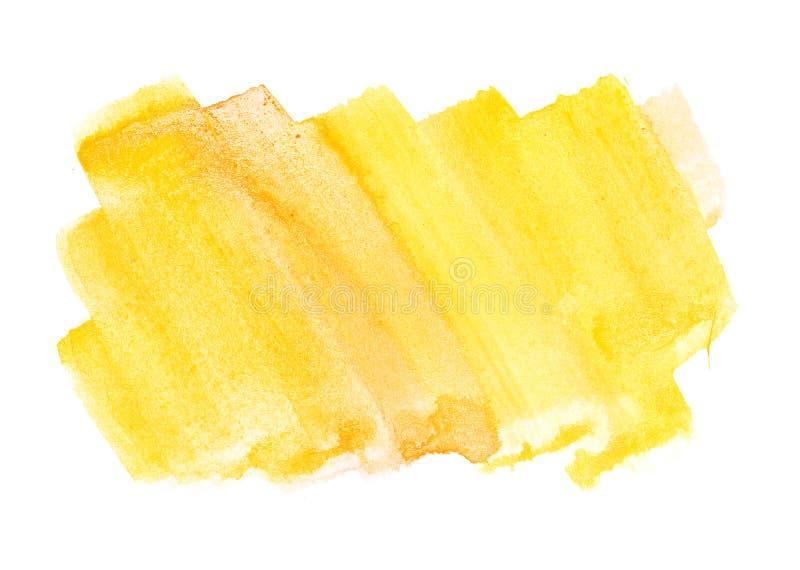 De oranjegele textuur van de de verf ruwe vierkante vorm van de waterkleur op wh stock foto