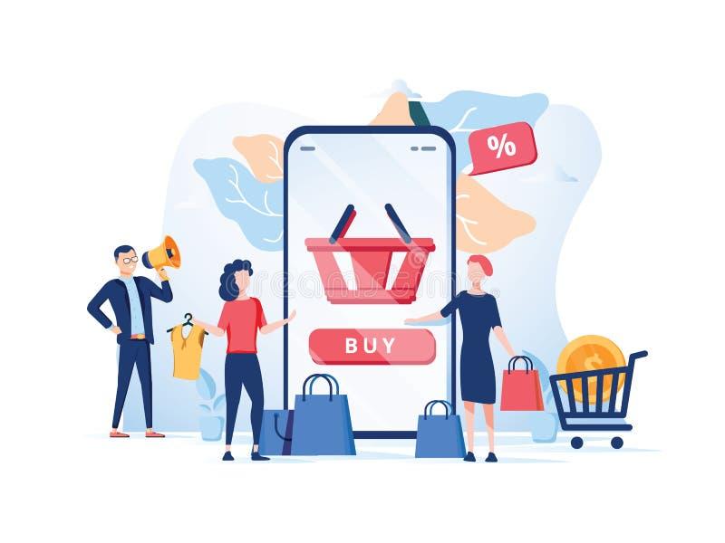 De ordebevestiging, Online Internet-het winkelen verkoop koopt aankoop p royalty-vrije illustratie
