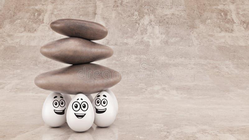 De organisatie van de bedrijfs groepssterkte concept als opgeheven rots of kei stock illustratie