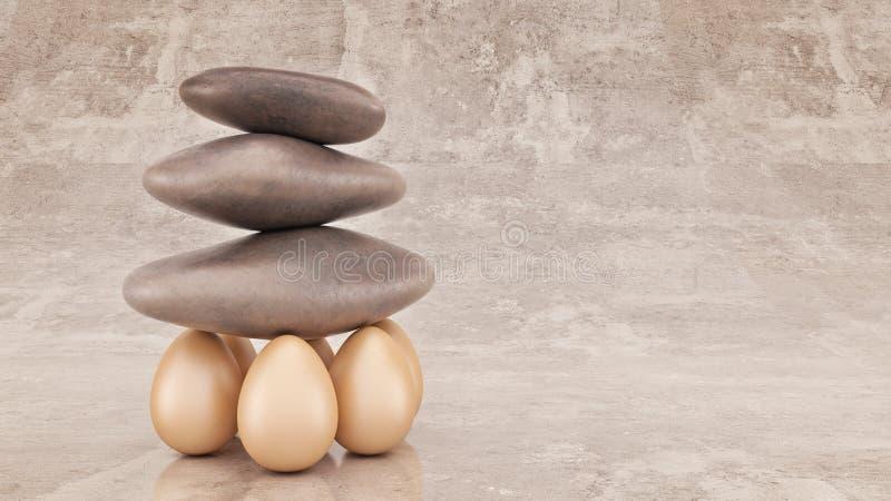 De organisatie van de bedrijfs groepssterkte concept als opgeheven rots of kei royalty-vrije illustratie