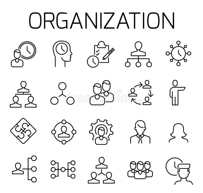 De organisatie vertelde vectorpictogramreeks stock illustratie