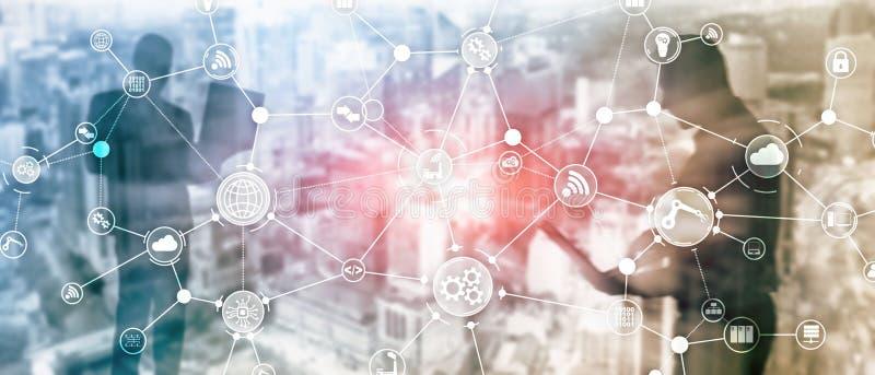 De organisatiestructuur technologie industri?le van het bedrijfsproceswerkschema op het virtuele scherm Slim de industrieconcept  vector illustratie